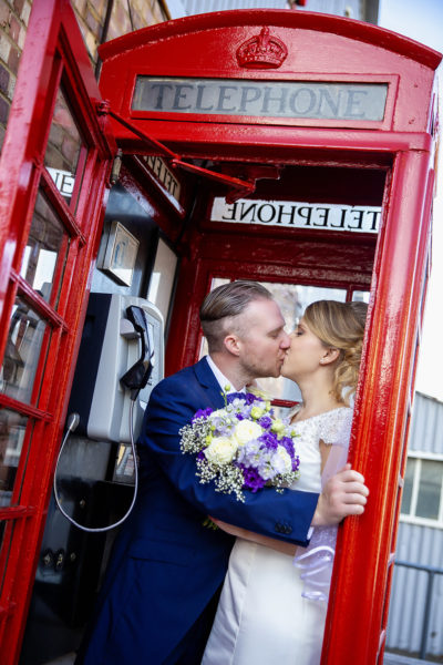 Phone box wedding photo